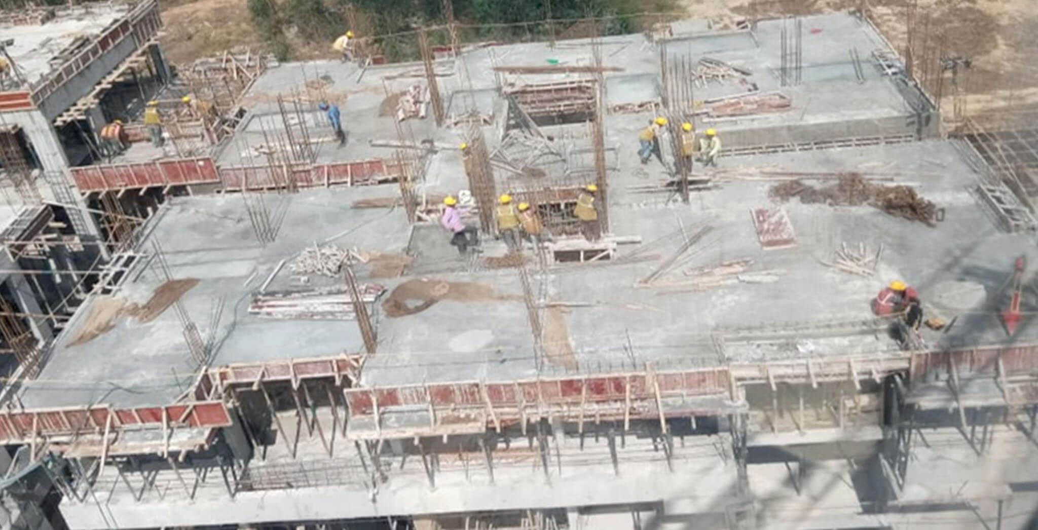 Jan 2020 - P Block: Fourth floor slab completed, 4th to terrace floor column rebar work-in-progress