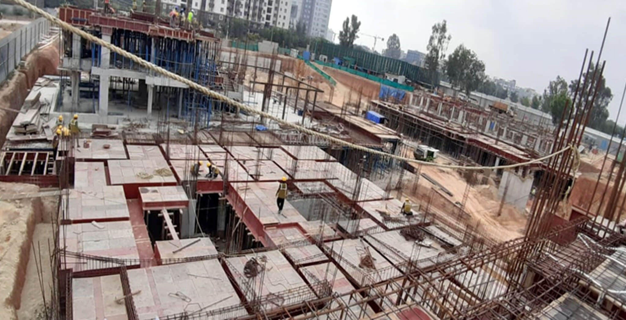 Jan 2020 - R Block: Ground floor slab shuttering & rebar work-in-progress