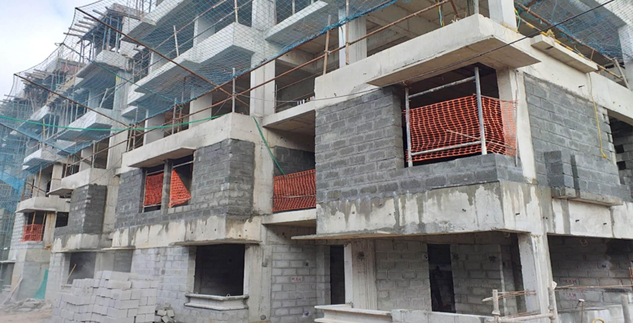 Jan 2020 - K Block: Ground floor block work completed, First floor block work-in-progress