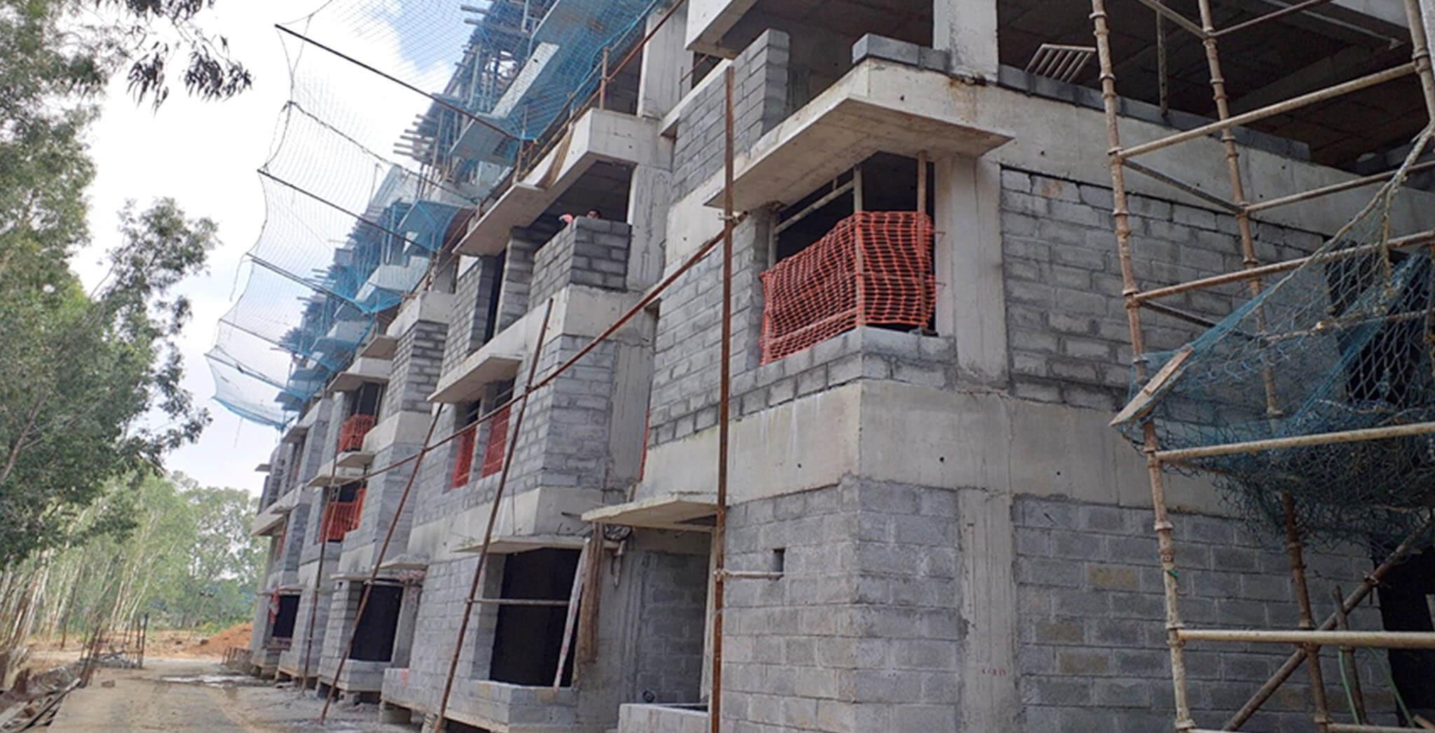 Jan 2020 - L & M Blocks: Ground & First Floor block work completed, Second floor block work-in-progress