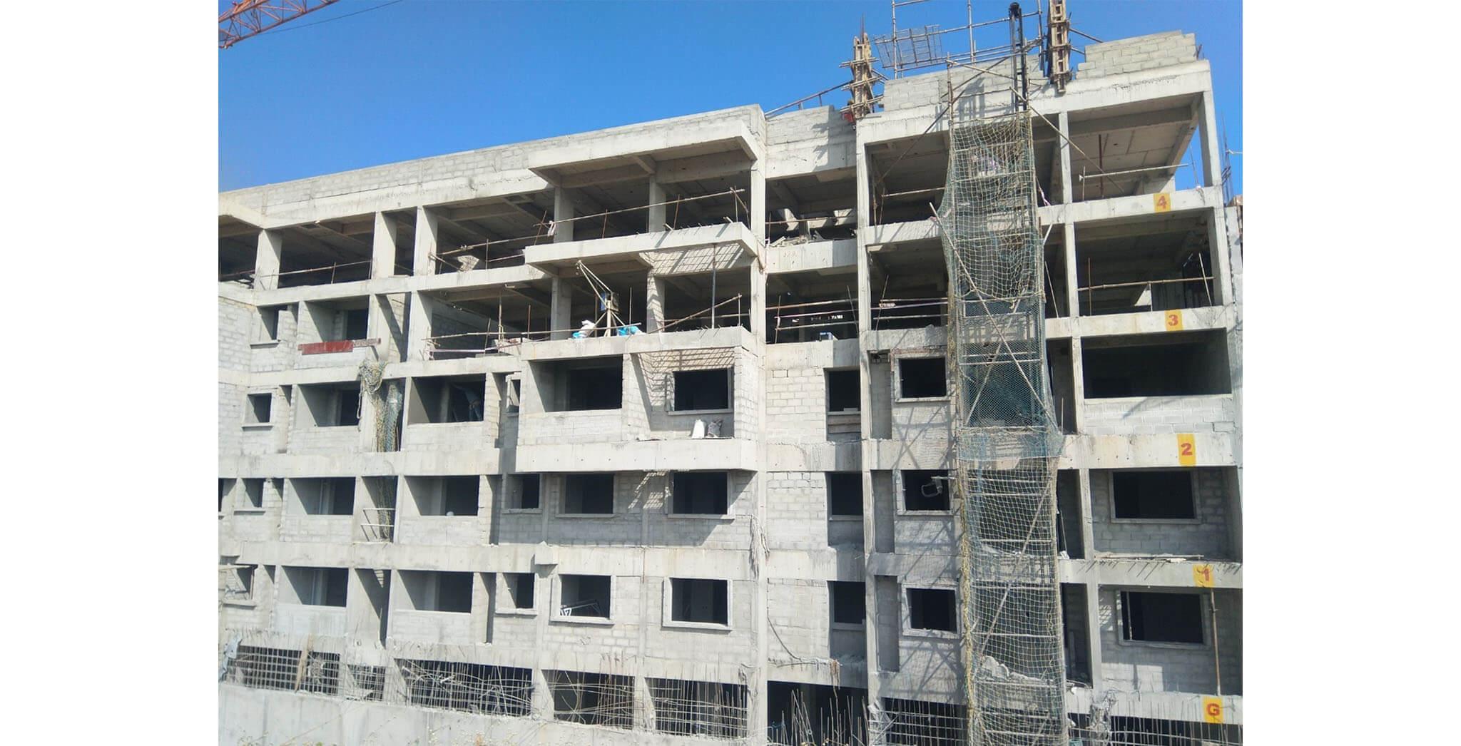Jan 2020 - Tower-F: Terrace slab Completed, above terrace work-in-progress.
