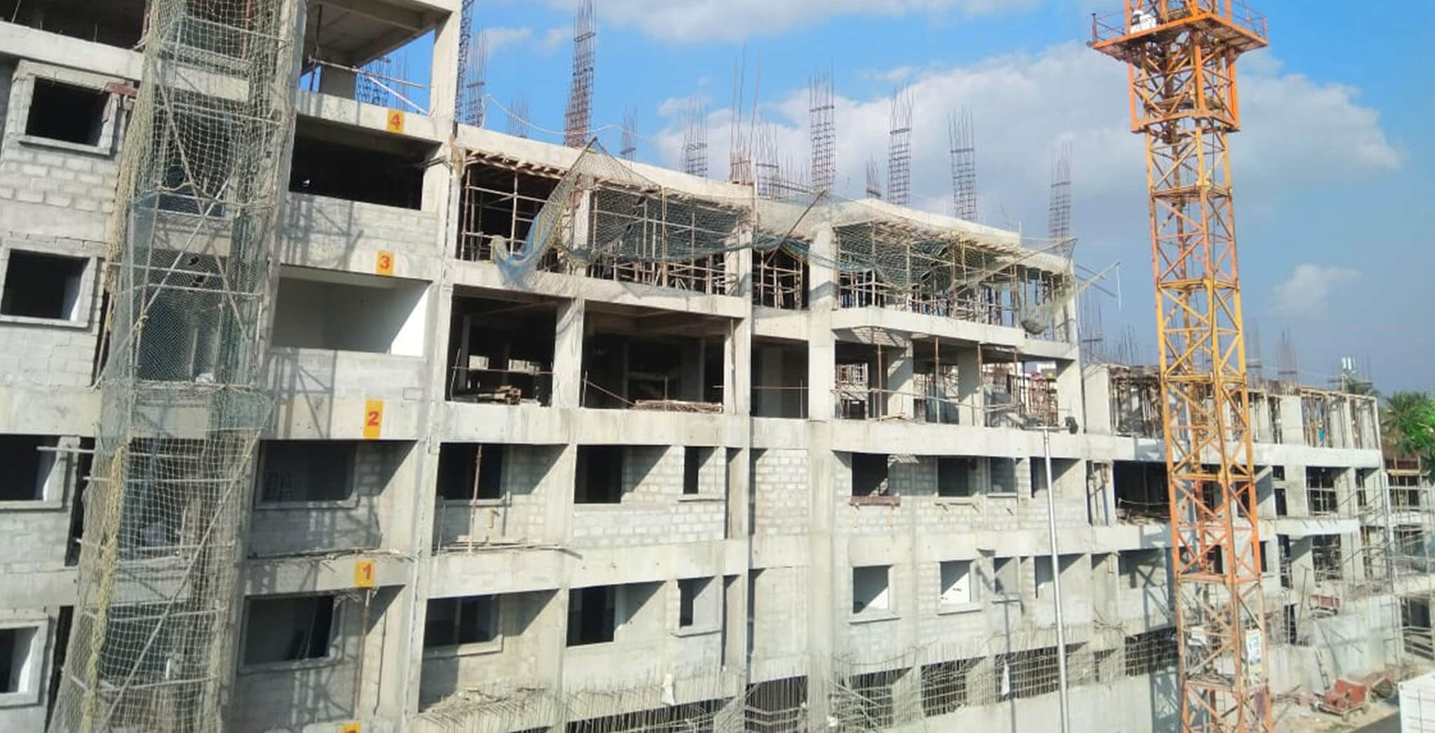 Jan 2020 - Tower-E: Wing O—Terrace slab completed; Wing J and P—4th floor slab work completed.