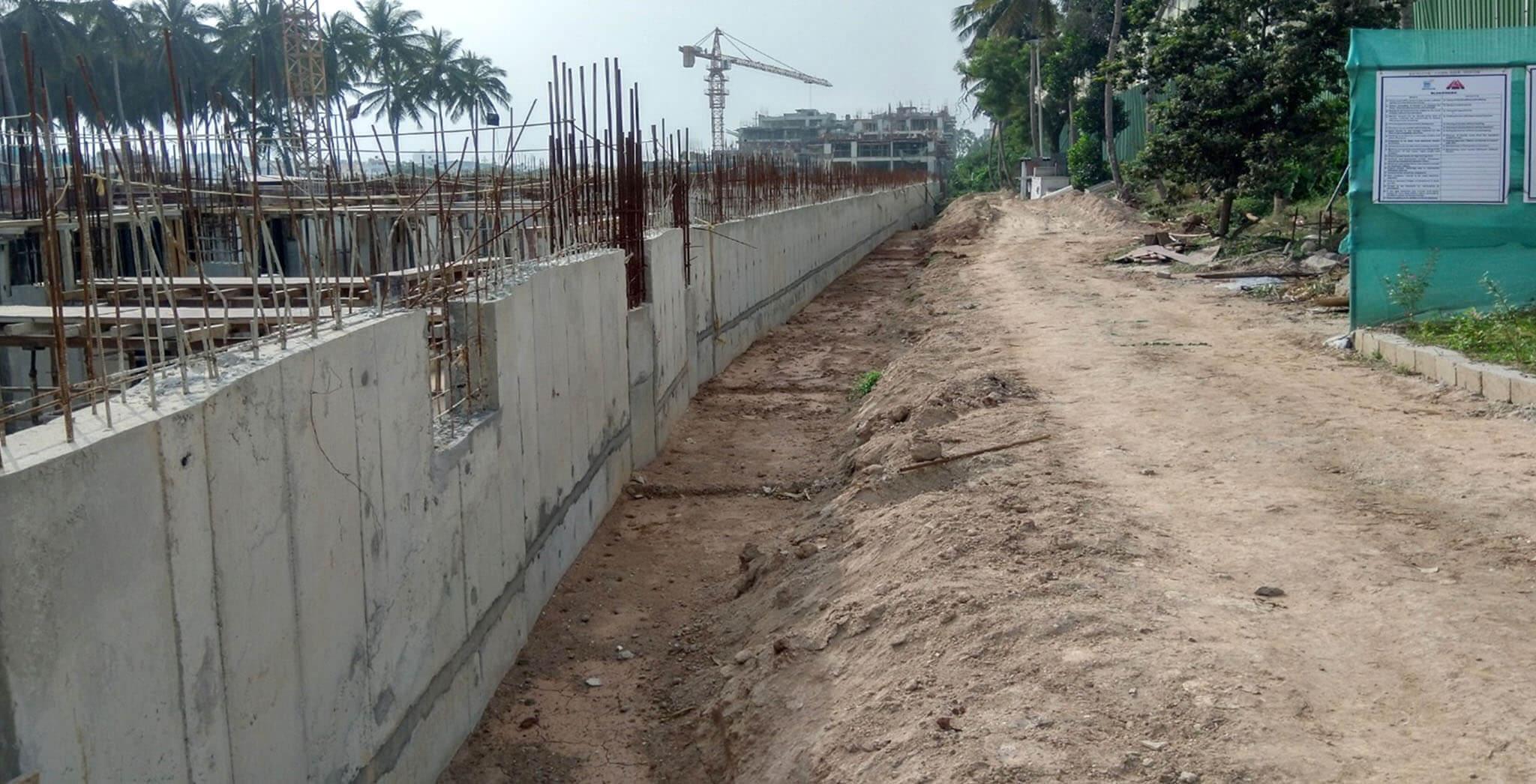 Jan 2020 - Retaining wall on north side work-in-progress.