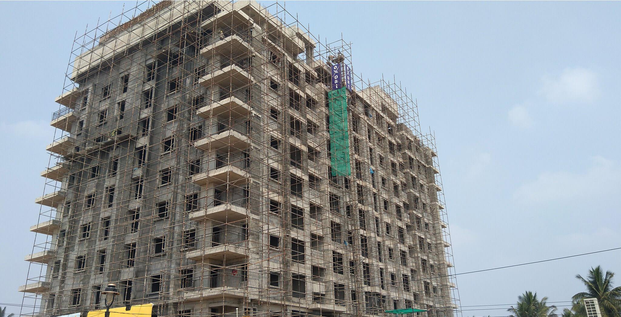 Mar 2020 - East elevation: Flooring block work completed