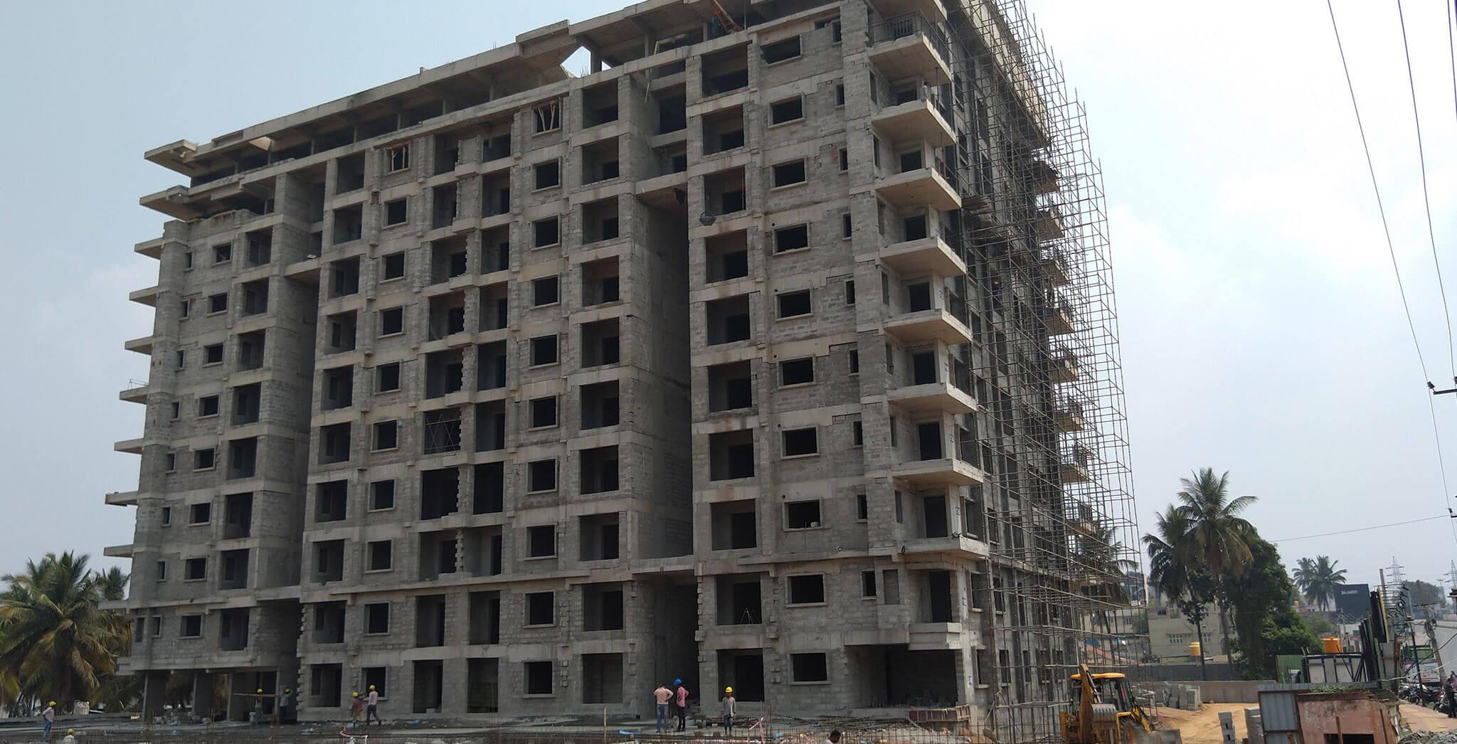 Mar 2020 - West elevation: Flooring block work completed