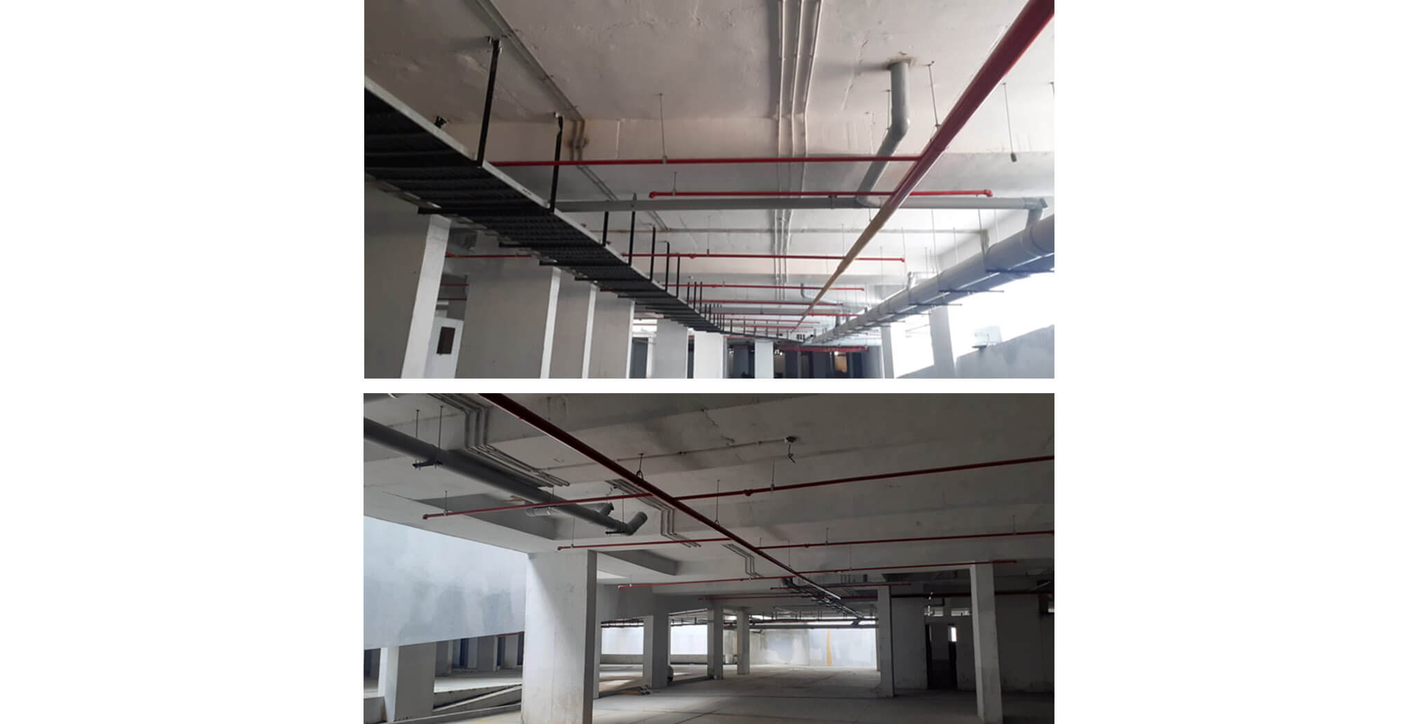 Mar 2020 - Basement: Fire fighting sprinkler lines, plumbing and electrical cable tray works completed