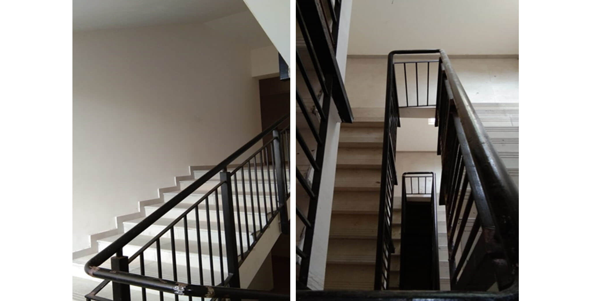 May 2020 - Deodar—G block: Staircase–Final coat painting for staircase railing in progress