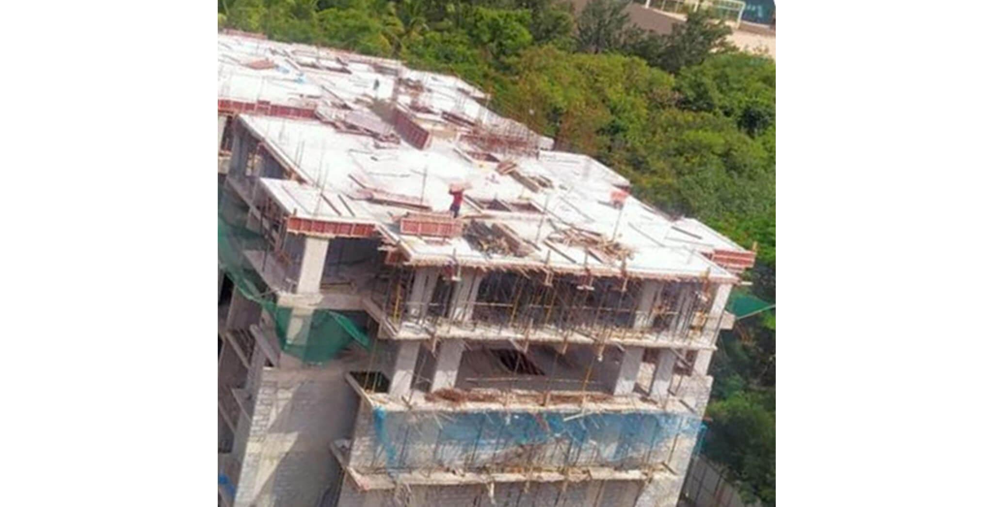 Jun 2020 - A Block: Terrace floor slab concreting completed; Up to 2nd floor—block-work and internal plastering work completed; Ground, 1st and 2nd floor toilet area waterproofing work-in-progress.