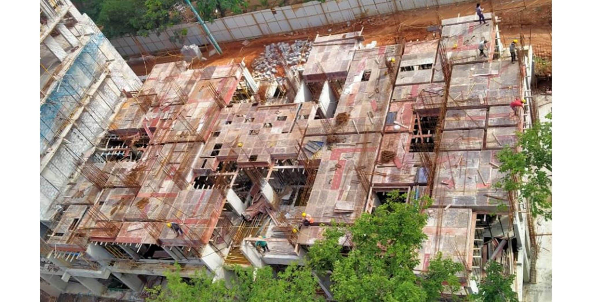 Jun 2020 - B Block: 1st floor slab shuttering work-in-progress.