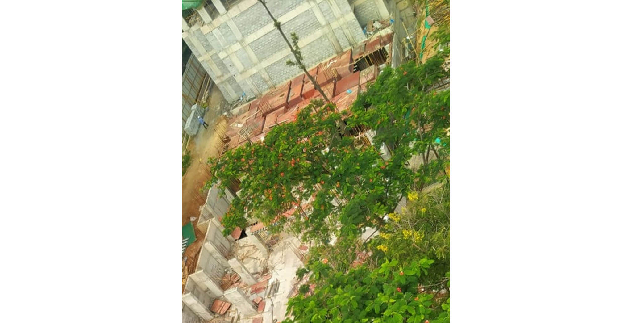 Jun 2020 - D Block: Ground floor slab shuttering work-in-progress.