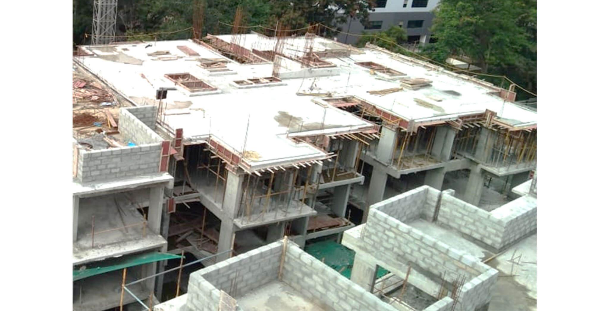 Jun 2020 - G Block: Terrace floor slab concreting completed; Block work completed up to 1st floor; Ground floor internal plastering in progress.