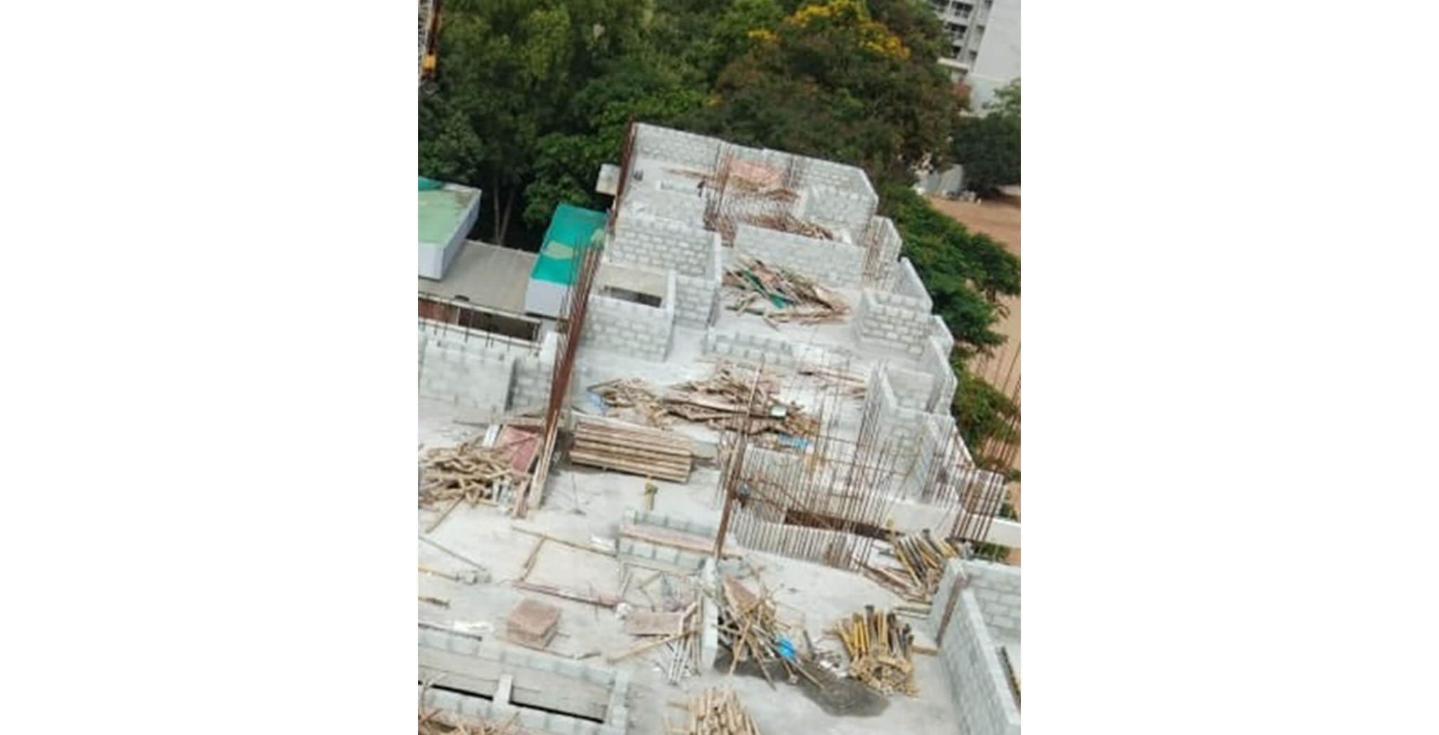 Jun 2020 - H Block: Above terrace floor column reinforcement work-in-progress; 3rd floor block-work in progress.