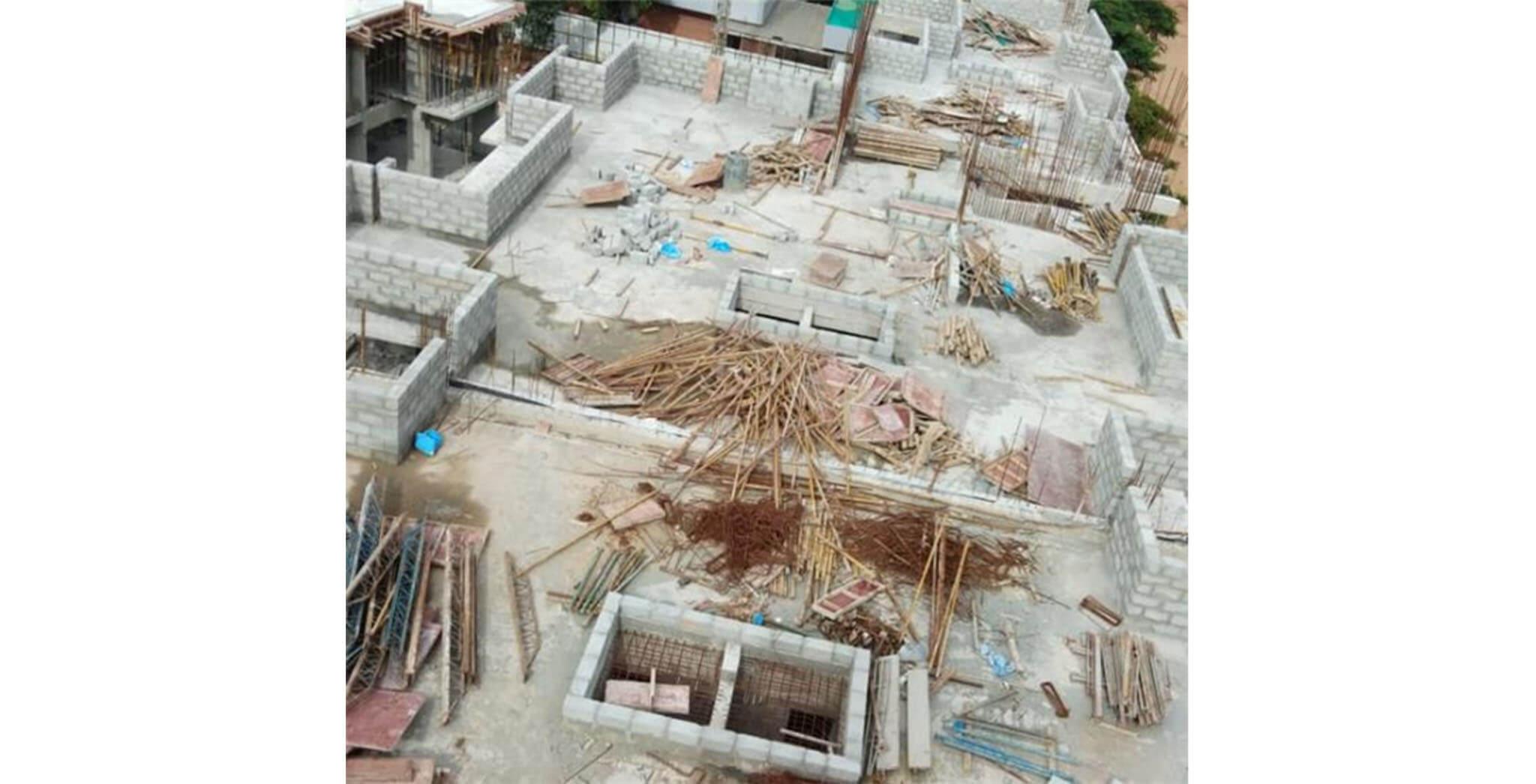 Jun 2020 - J Block: Above Terrace floor ducts block-work in progress; 3rd floor block work-in-progress; Ground floor internal plastering work-in-progress.