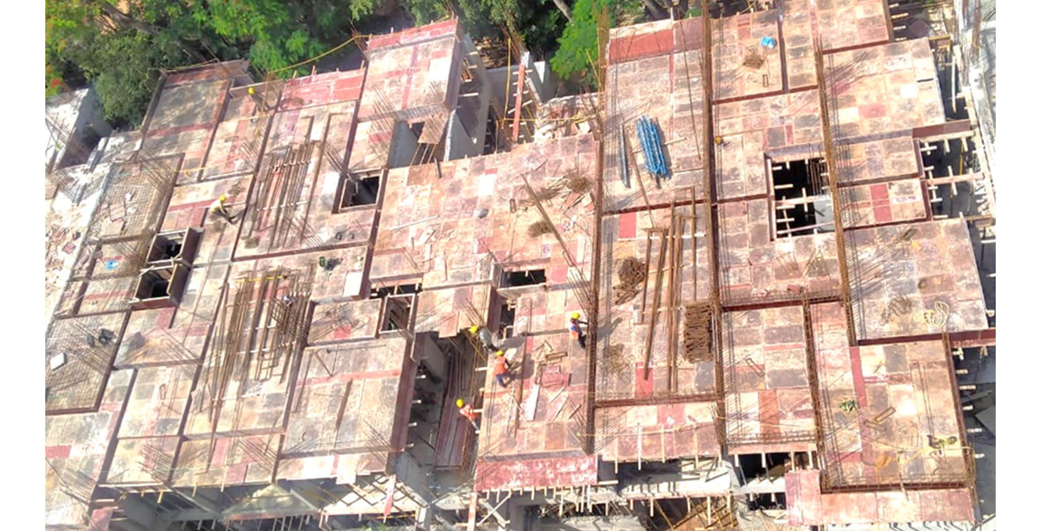 Jun 2020 - N Block: 1st floor slab shuttering work-in-progress.