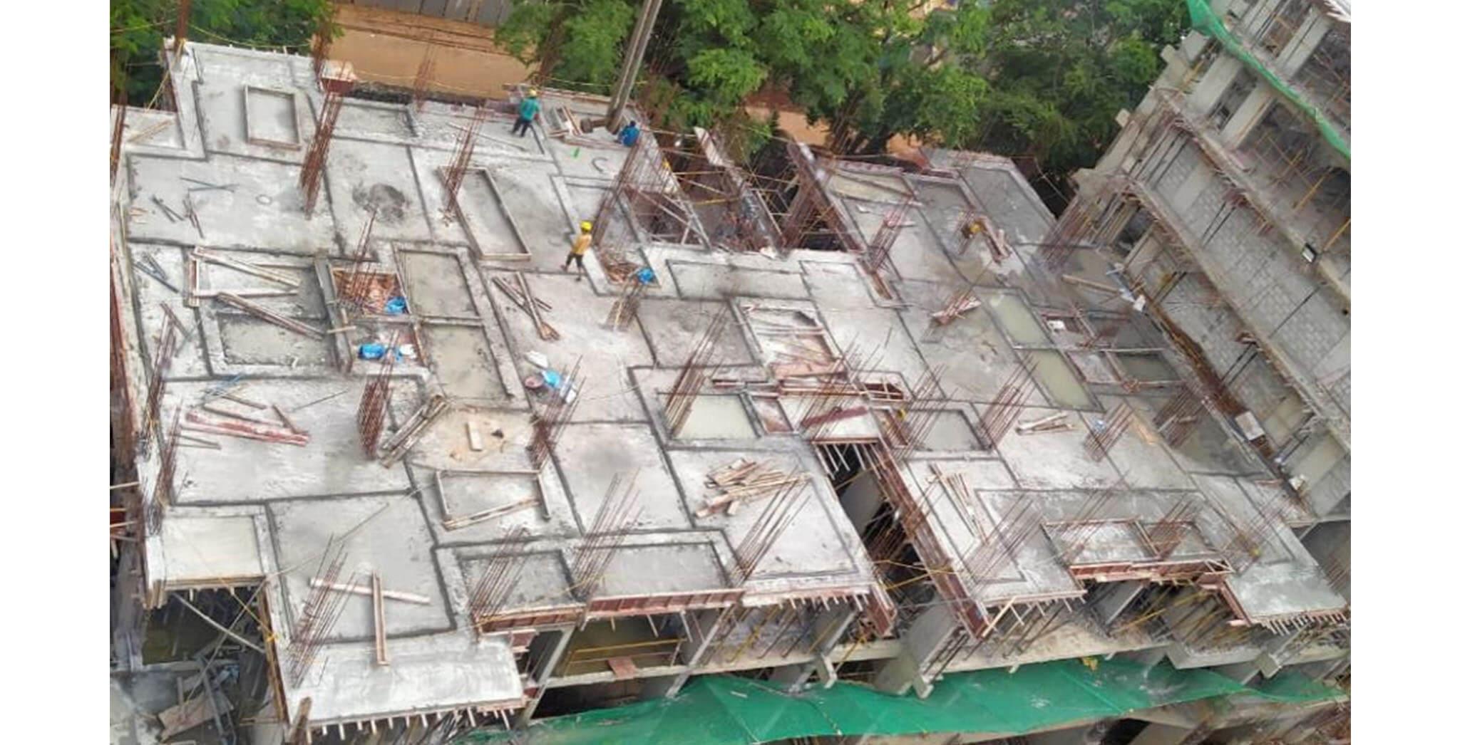 Jun 2020 - P Block: 1st floor slab concreting completed.