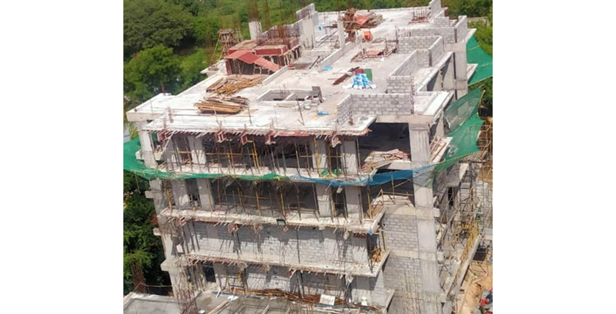 Jun 2020 - Q Block: Above terrace floor parapet wall block work-in-progress; 2nd floor block work-in-progress; Internal plastering completed up to 1st floor; Waterproofing completed up to 1st floor.