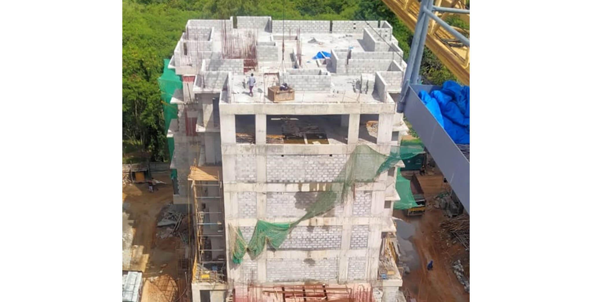 Jun 2020 - R Block: Above terrace floor parapet wall and duct block work-in-progress; Block work completed up to 3rd floor; 1st floor internal plastering work-in-progress.