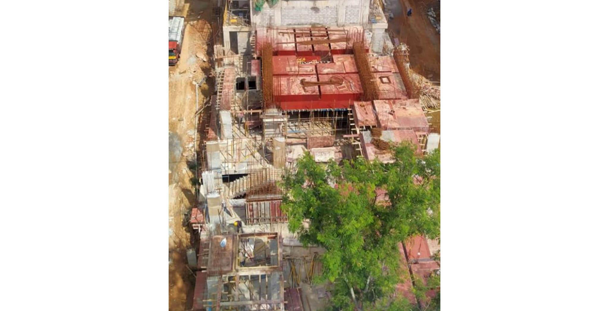 Jun 2020 - S Block: Ground floor slab shuttering work-in-progress.