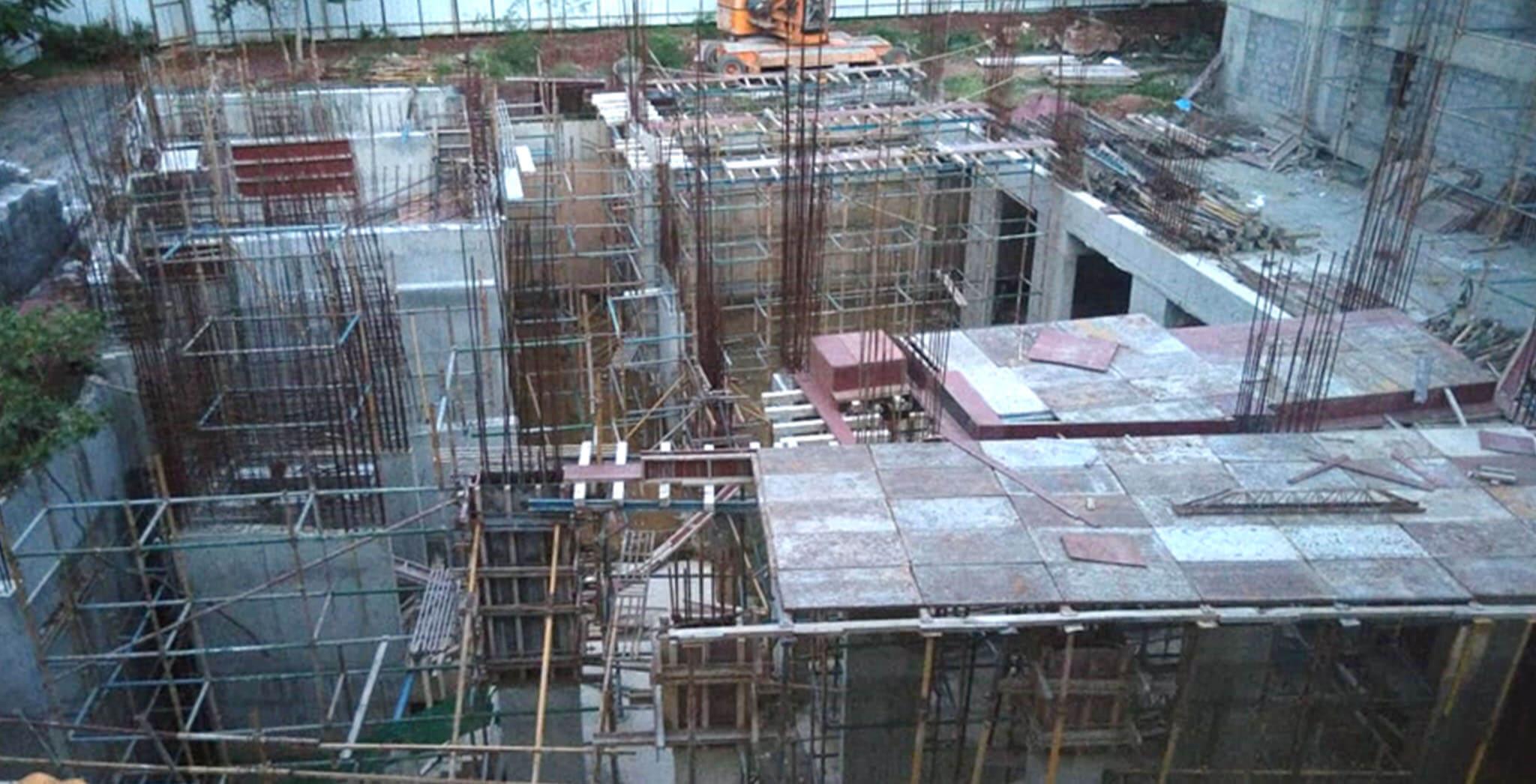 Jun 2020 - Club House: Ground floor slab shuttering work-in-progress.