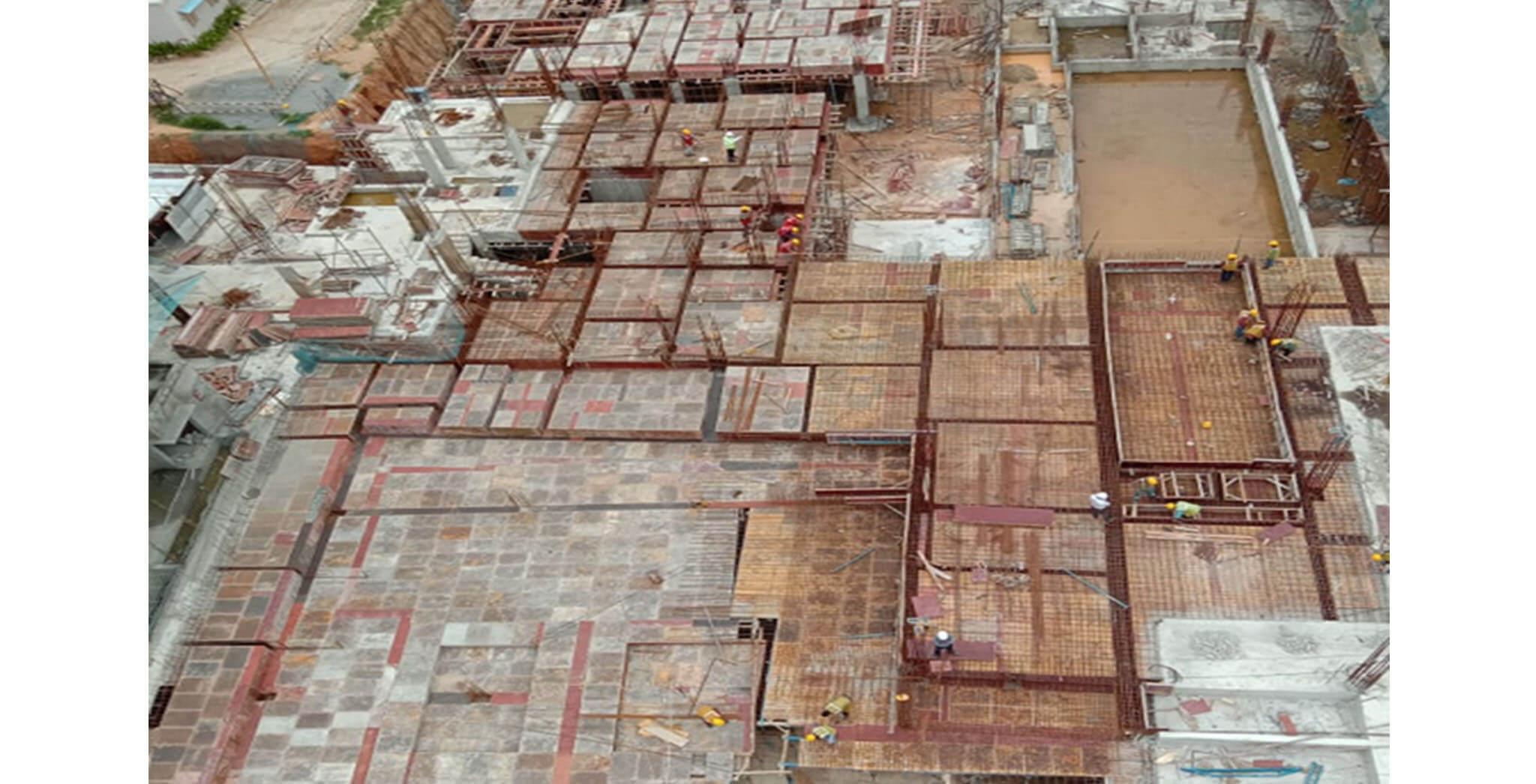 Jul 2020 - West side view: S Block—Podium shuttering and rebar work-in-progress.