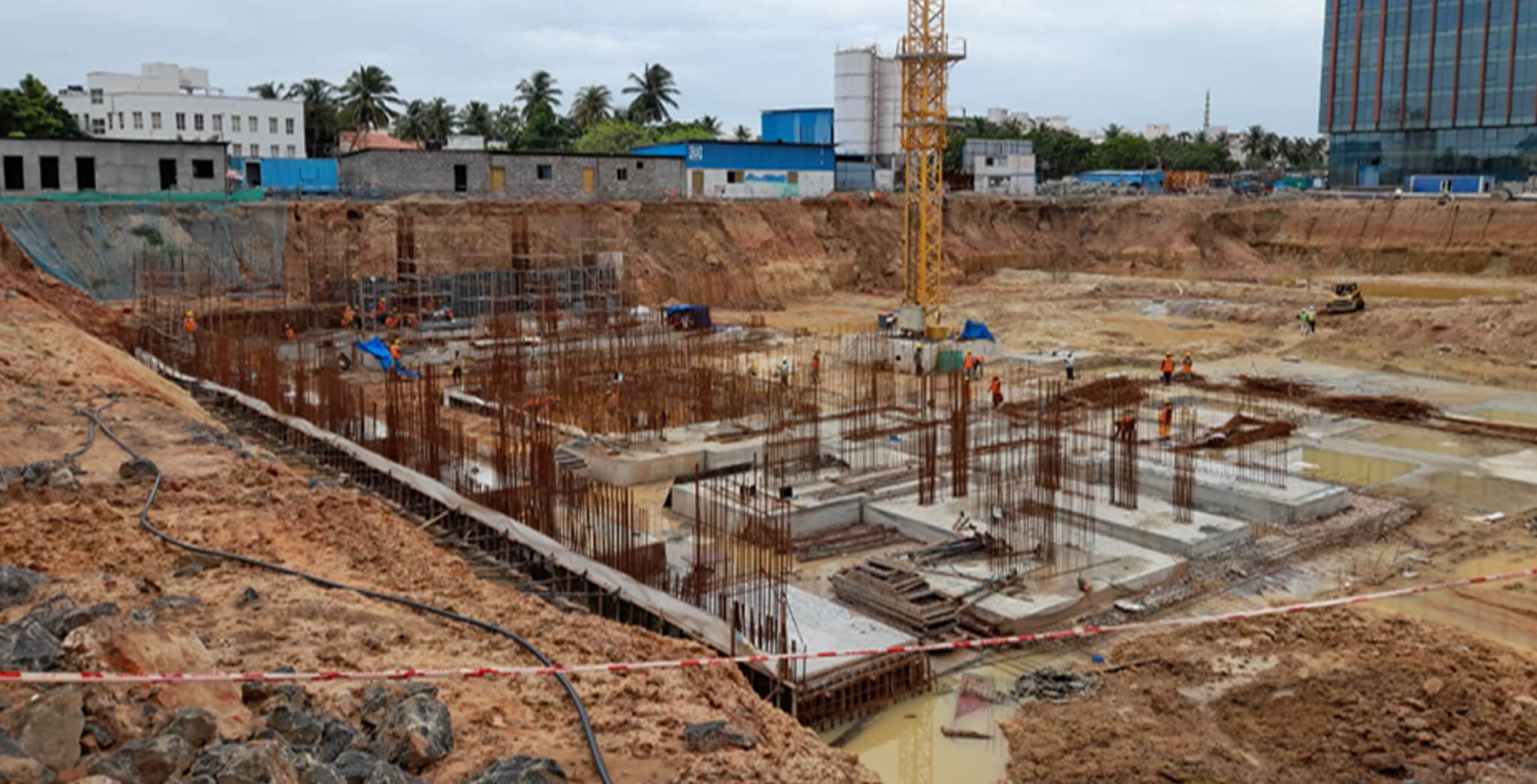 Jul 2020 - Tower A1 PCC 100% completed, raft waterproofing 100% completed, 75% raft concreting completed and balance in progress