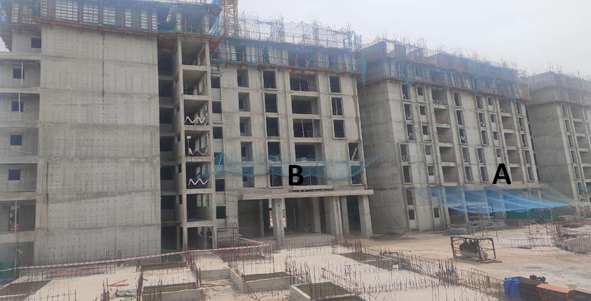 Jul 2020 - Serene: Tower A—9th floor slab in progress & Tower B—8th floor slab completed.