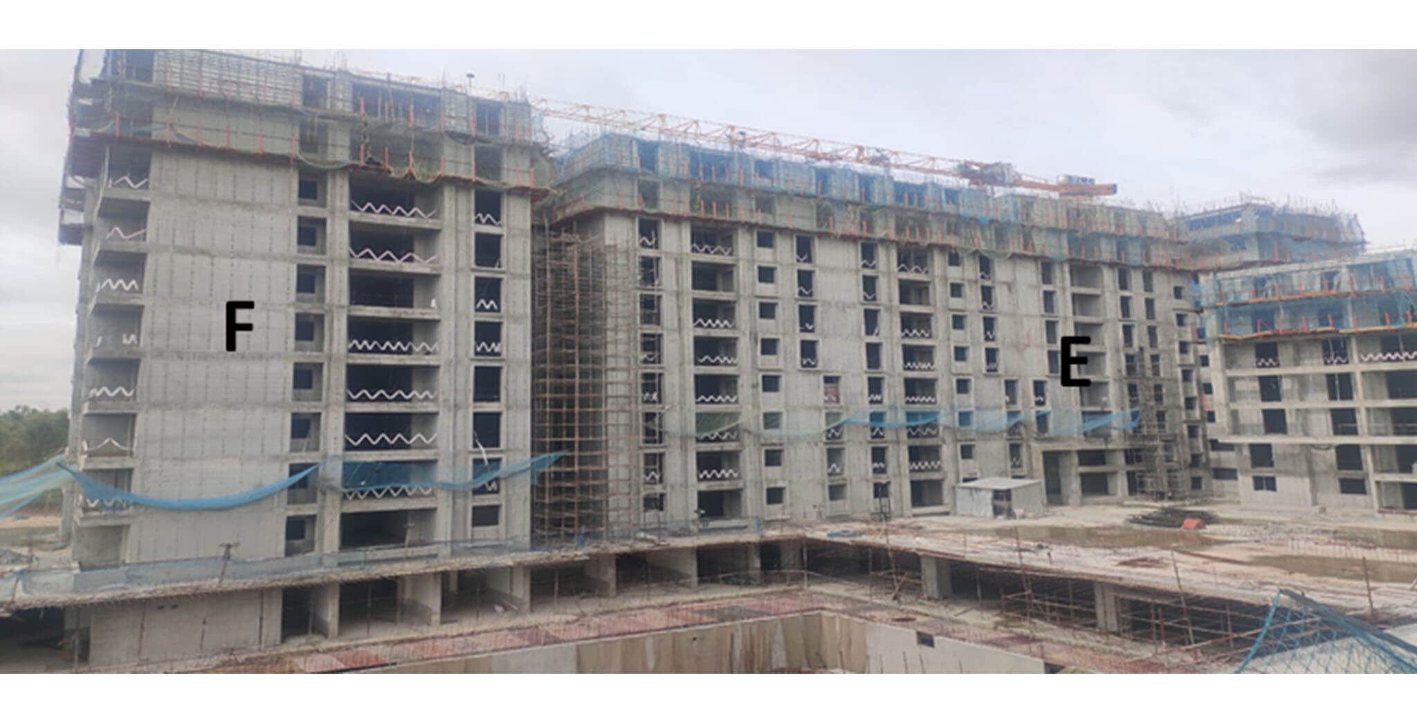 Jul 2020 - Serene: Tower E—10th floor slab in progress & Tower F—10th floor slab in progress.