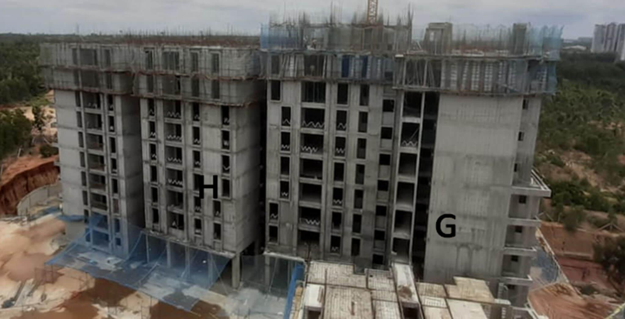 Jul 2020 - Serene: Tower G—11th floor slab in progress & Tower H—10th floor slab in progress.