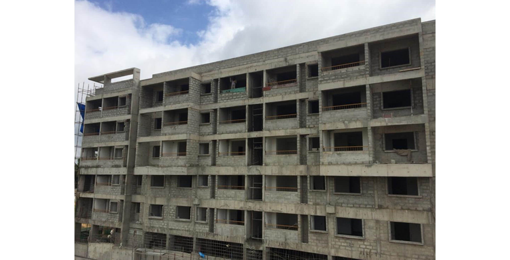Aug 2020 - Tower F: Structure, Blockwork, MS works completed, 4th floor plastering work-in-progress