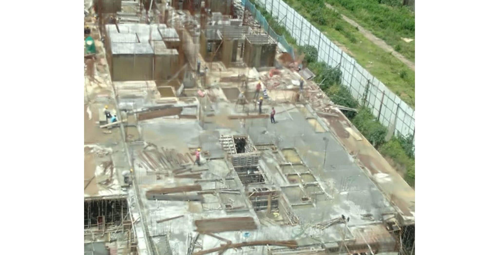 Aug 2020 - E Block: Ground floor slab completed & first floor slab work-in-progress