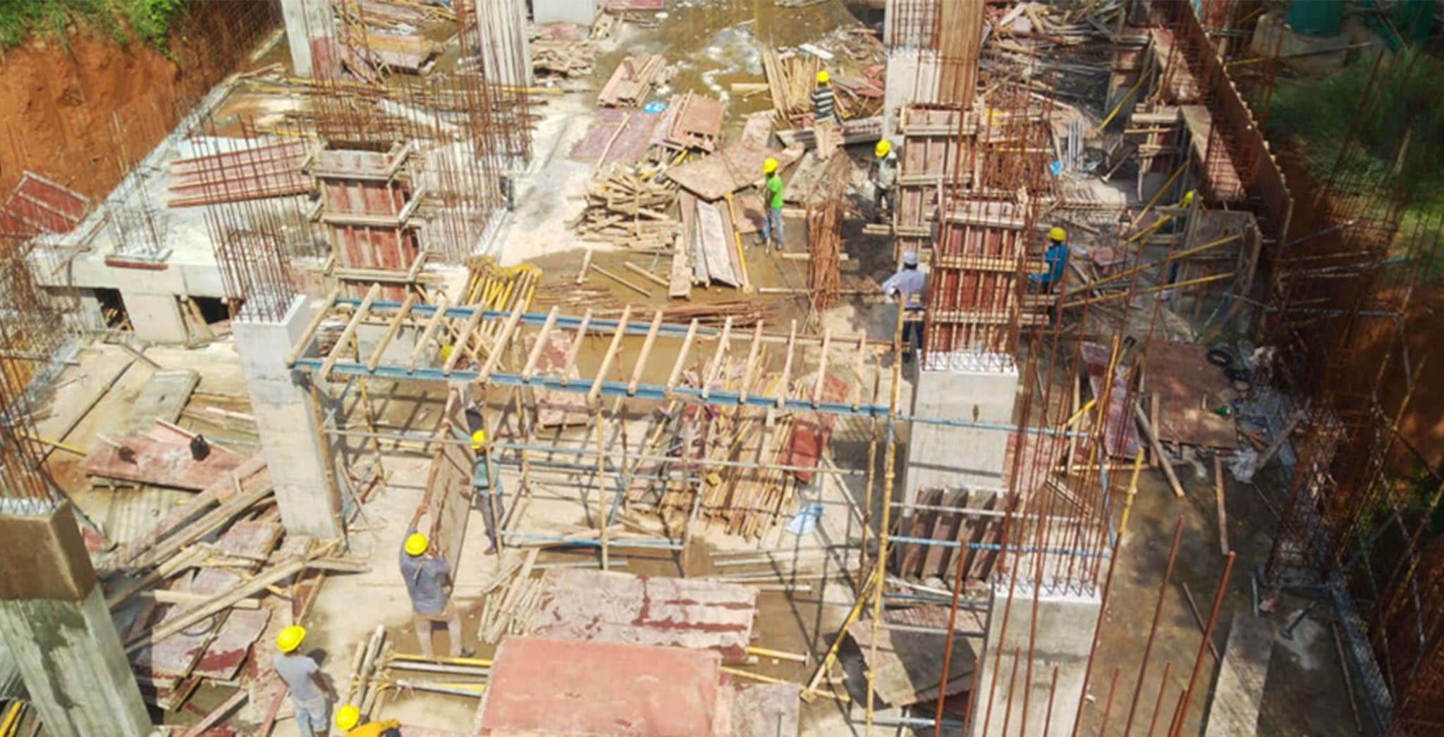 Aug 2020 - C Block: Ground floor beam bottom shuttering works commenced.