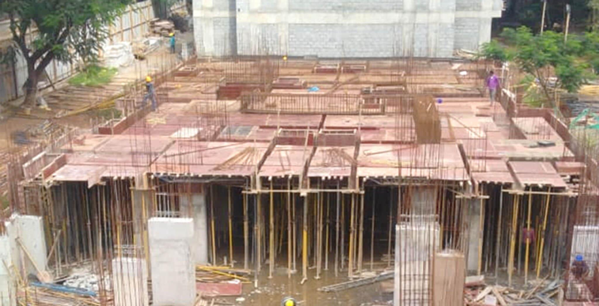Aug 2020 - D Block : Ground floor beam reinforcement work-in-progress.