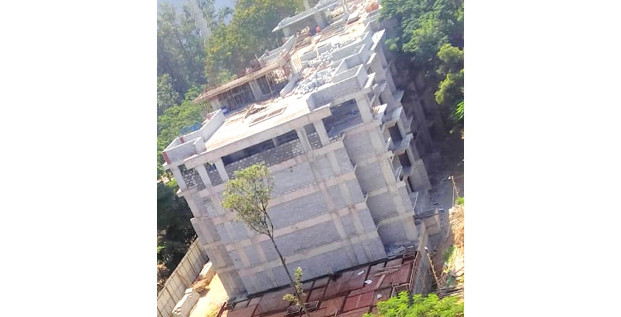 Aug 2020 - E Block: 4th floor block-work; 2nd floor internal plastering; 1st floor waterproofing work-in-progress.