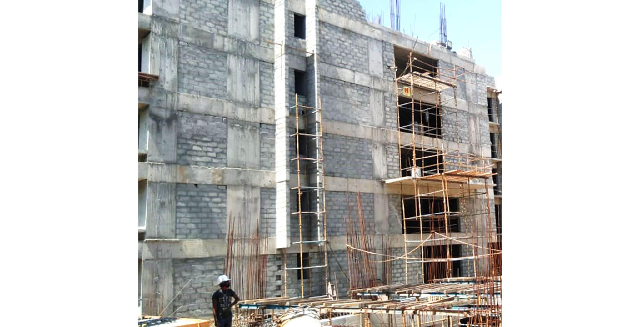 Aug 2020 - H Block: 3rd floor internal plastering work-in-progress; 1st floor toilet  waterproofing completed.