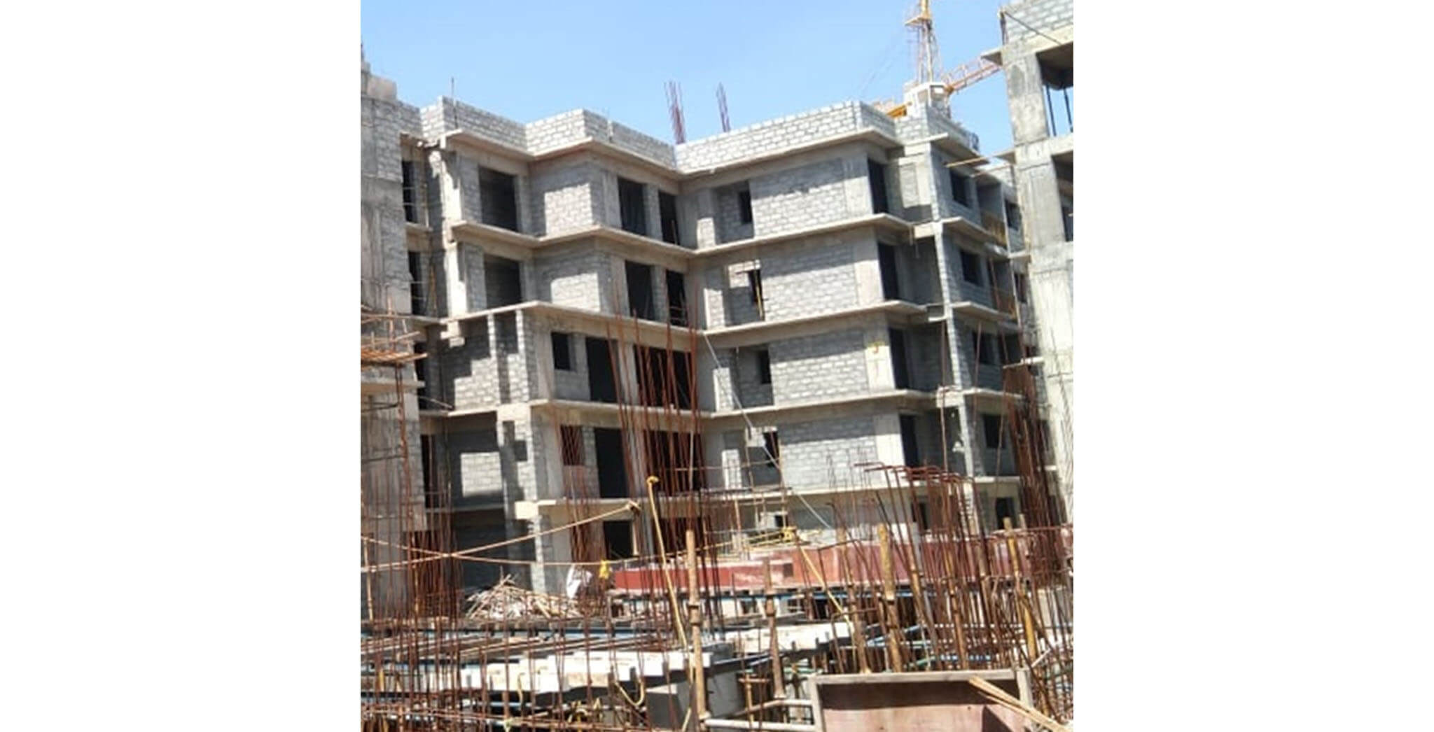 Aug 2020 - J Block: 3rd floor internal plastering work-in-progress; 2nd floor toilet waterproofing completed.