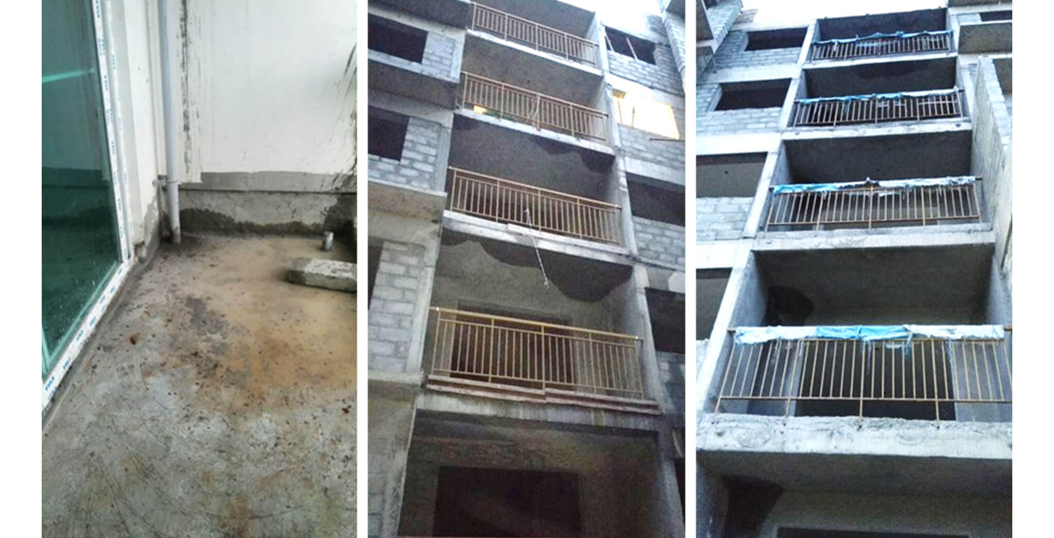 Aug 2020 - L Block: Up to 4th floor balcony railing and water proofing works completed.