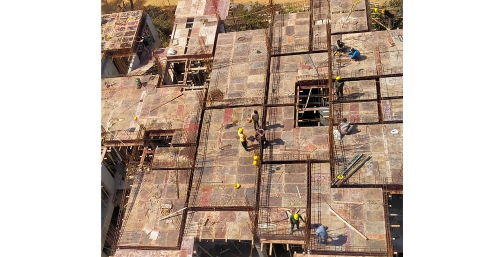 Aug 2020 - N Block: 2nd floor beam reinforcement work-in-progress.