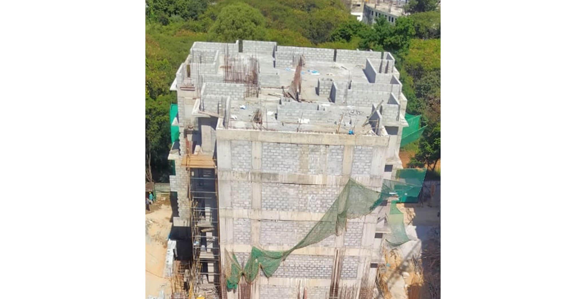 Aug 2020 - R Block: Above terrace floor-duct block work & 2nd floor toilet waterproofing work-in-progress.