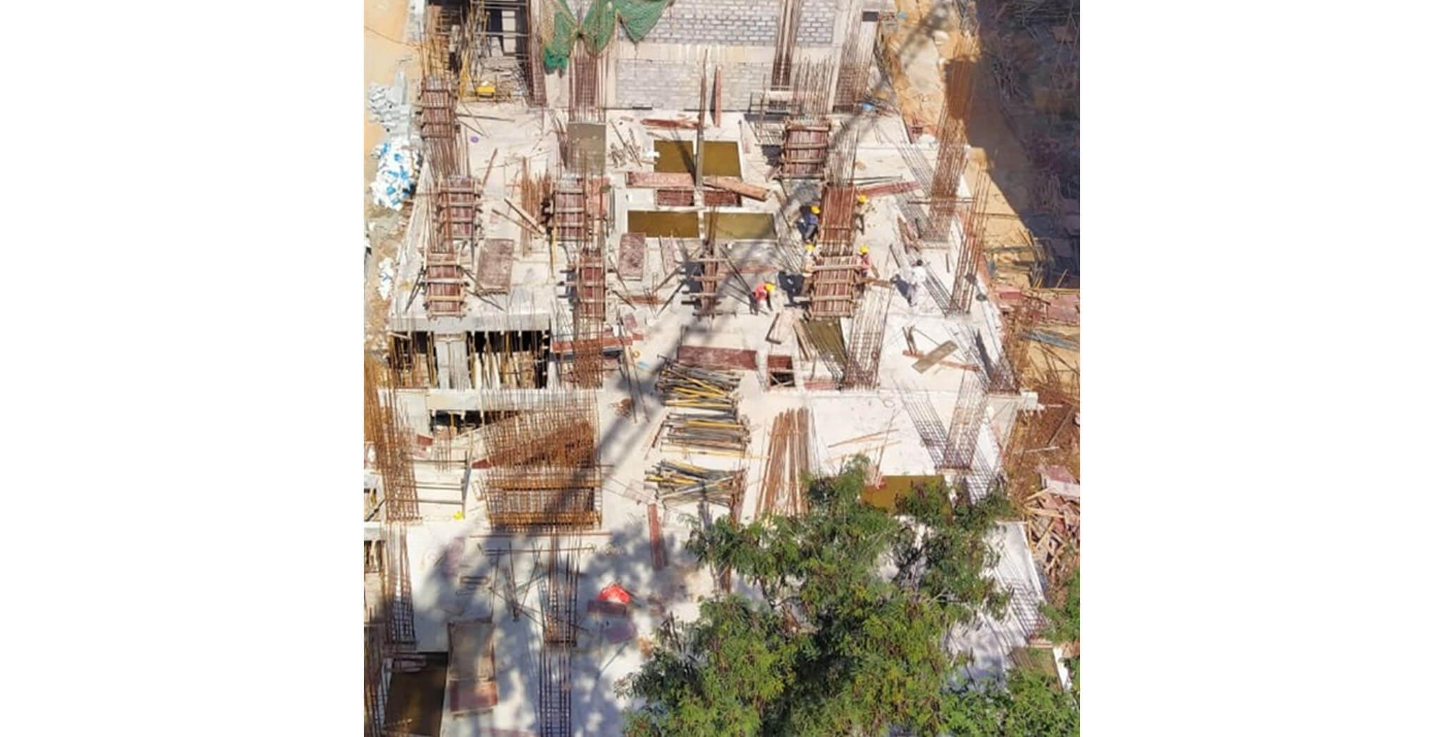 Aug 2020 - S Block: Ground floor slab reinforcement work-in-progress.