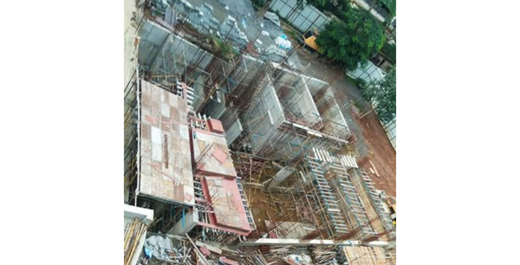 Aug 2020 - Club House: Ground floor slab shuttering work-in-progress.