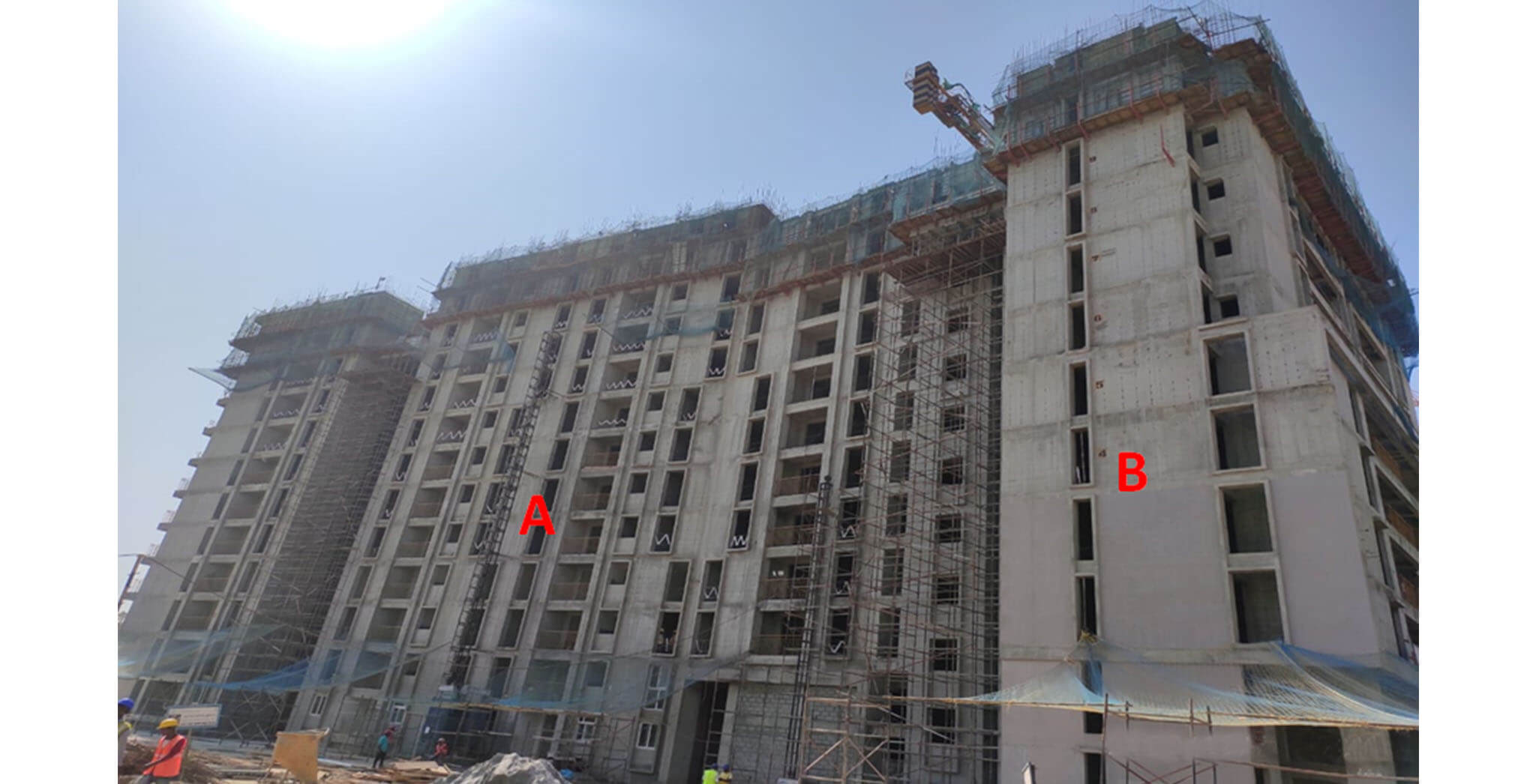 Sep 2020 - Serene: Tower A—12th floor slab structure work completed; Tower B—11th floor slab structure work completed