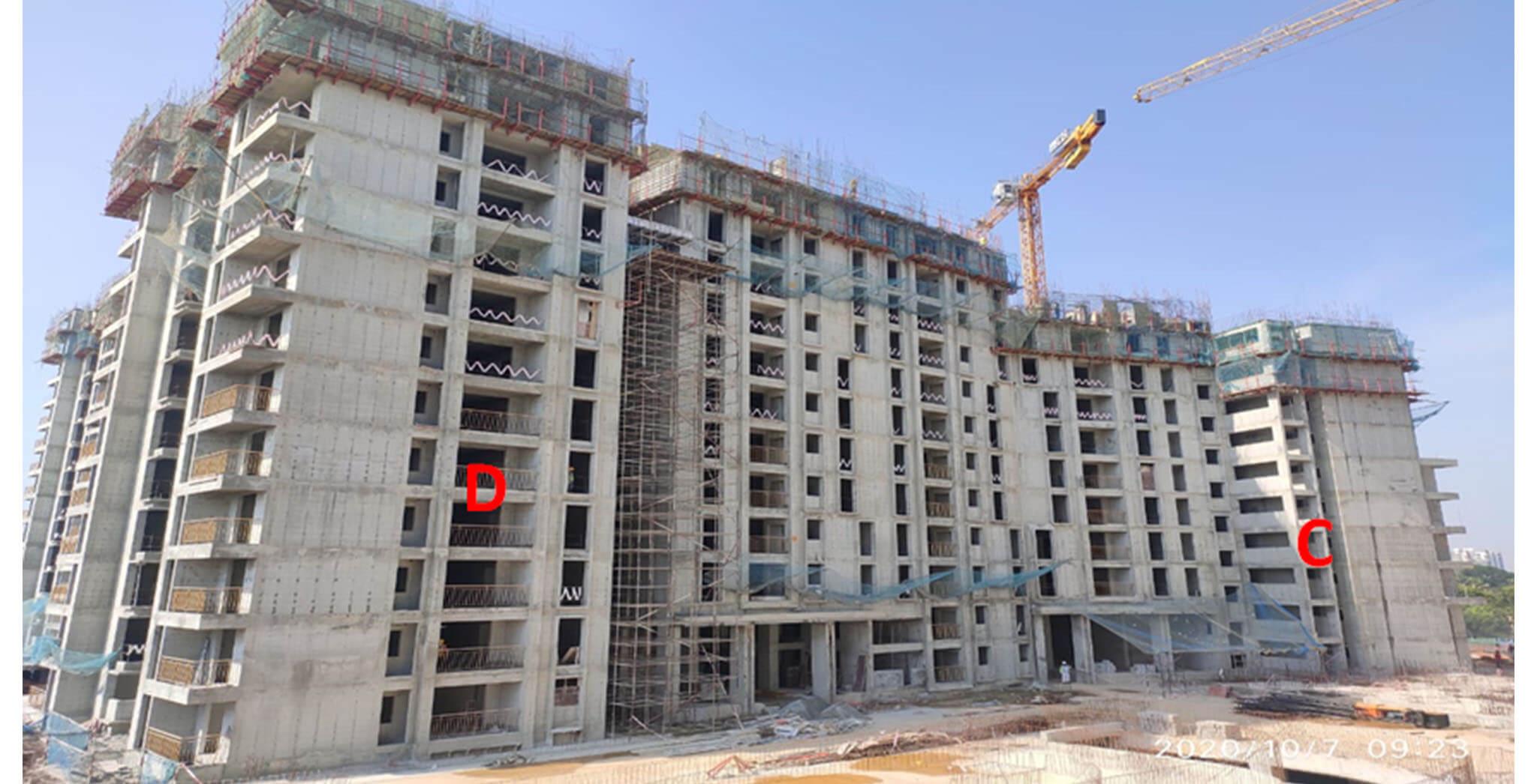 Sep 2020 - Serene: Tower C—10th floor slab structure work completed; Tower D—12th floor slab structure work completed