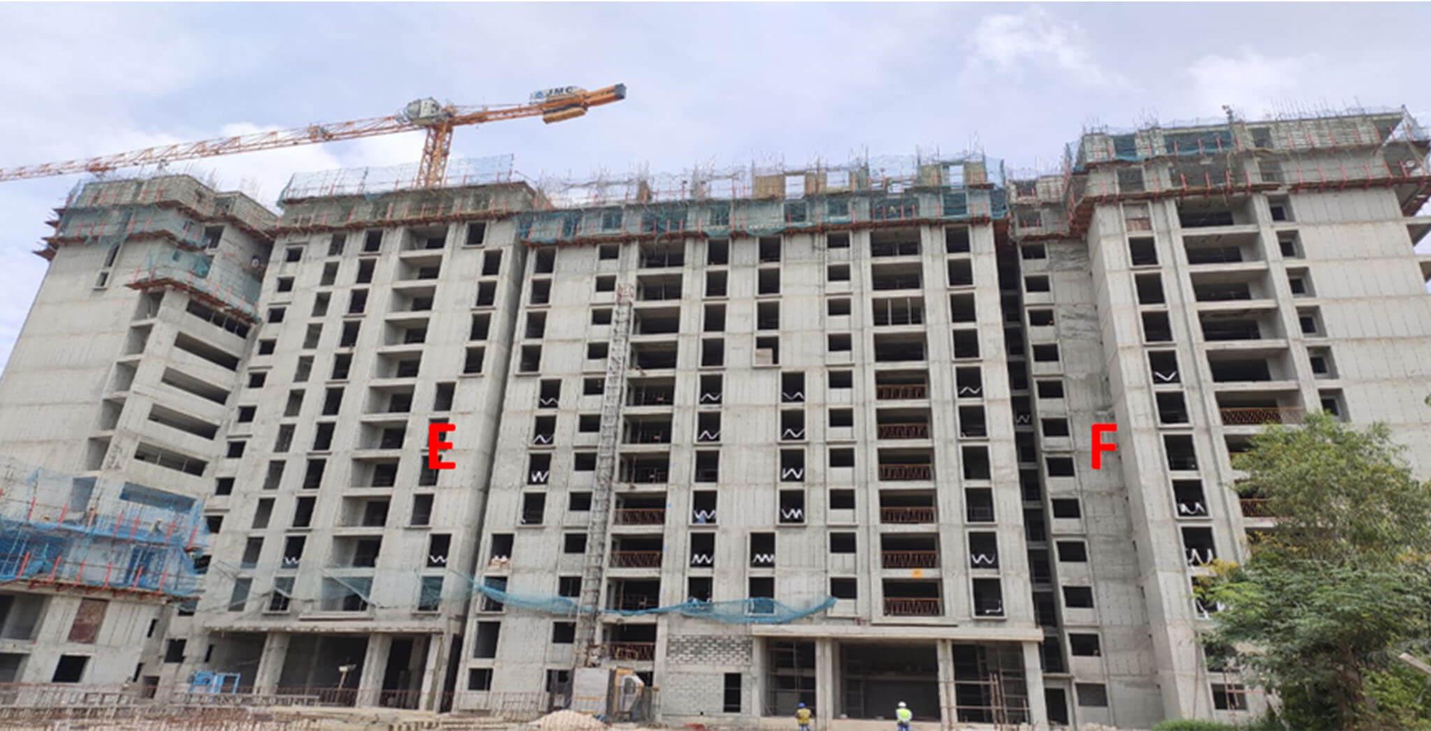 Sep 2020 - Serene: Tower E—14th floor slab structure work completed; Tower F—14th floor slab structure work-in-progress