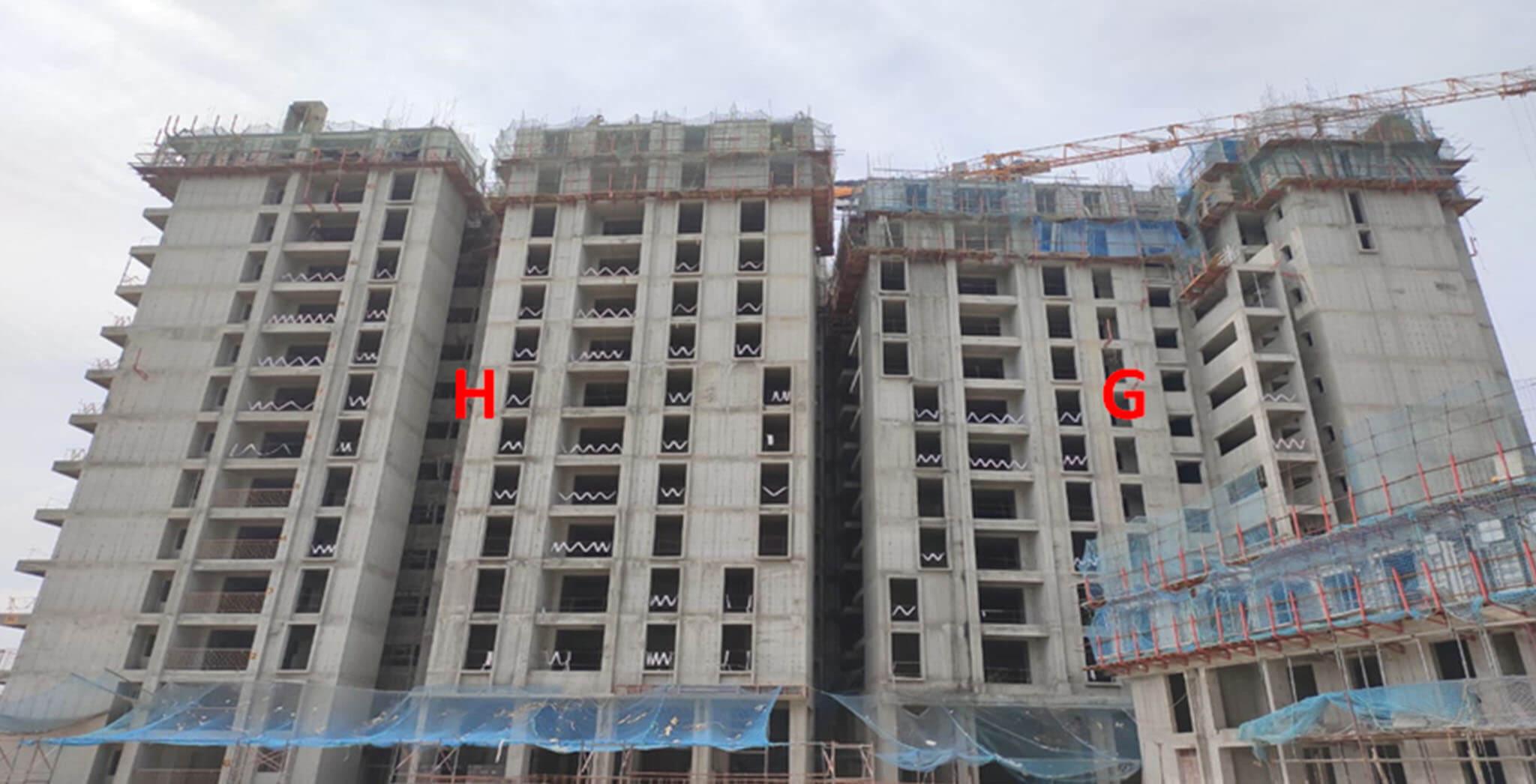 Sep 2020 - Serene: Tower G—13th floor slab structure work completed; Tower H—14th floor slab structure work completed