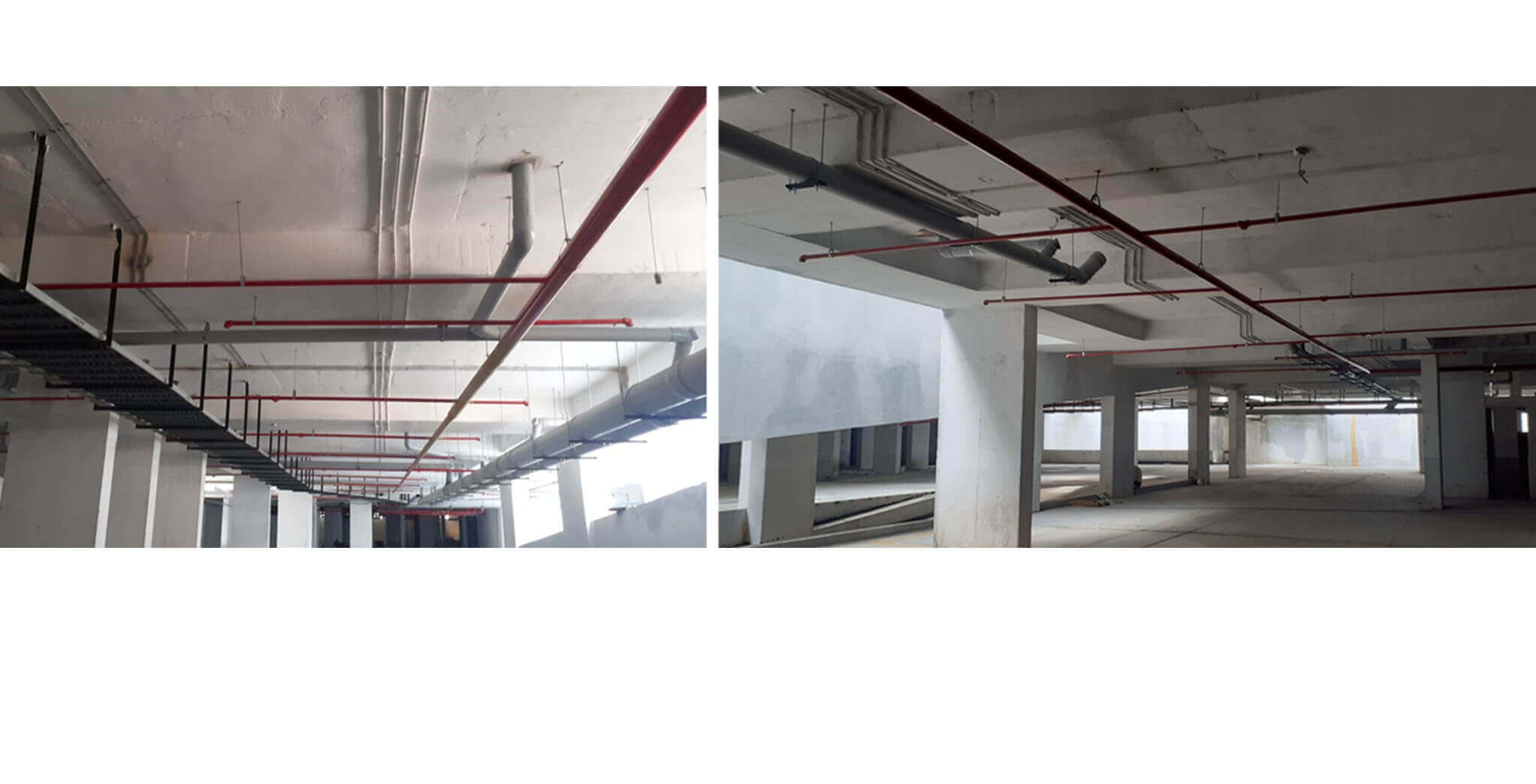Sep 2020 - Basement: Fire fighting sprinkler lines, plumbing and electrical cable tray work completed
