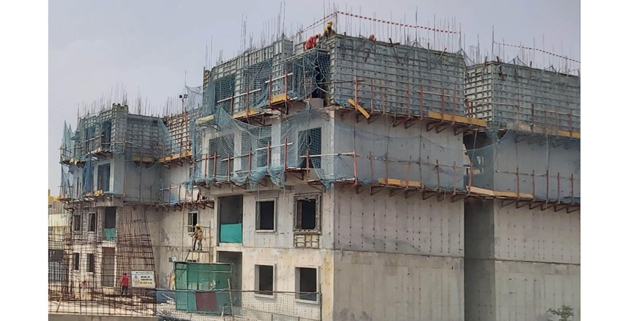 Oct 2020 - A Block: Terrace floor slab work-in-progress