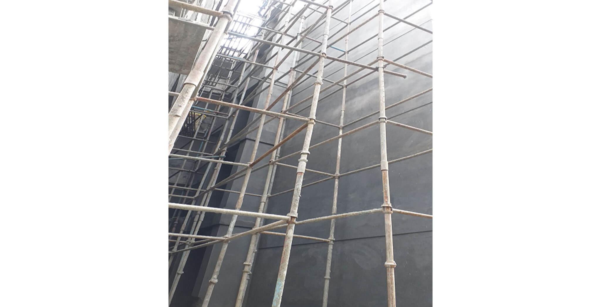 Oct 2020 - West side view: L Block—West side external plastering work-in-progress