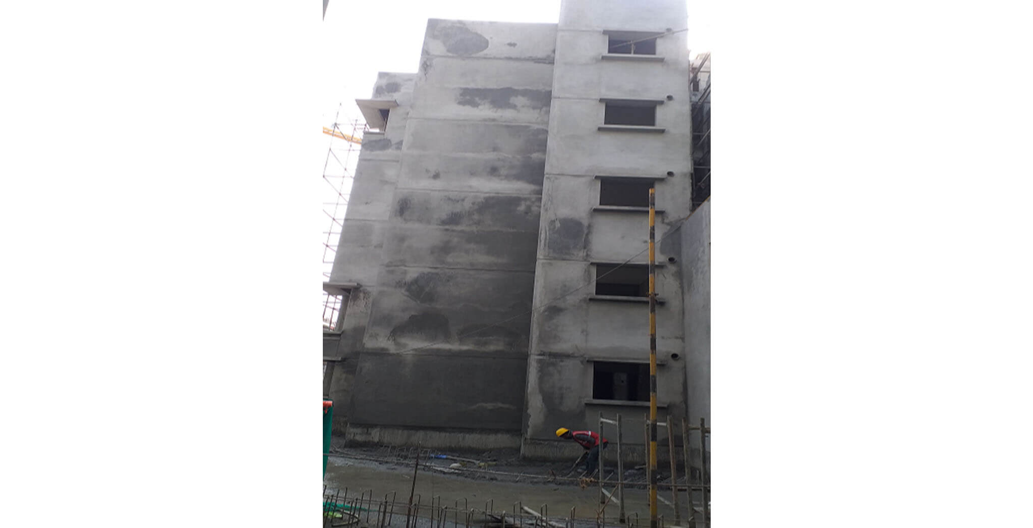 Oct 2020 - Towards East side view: K Block towards East side View; external plastering work completed