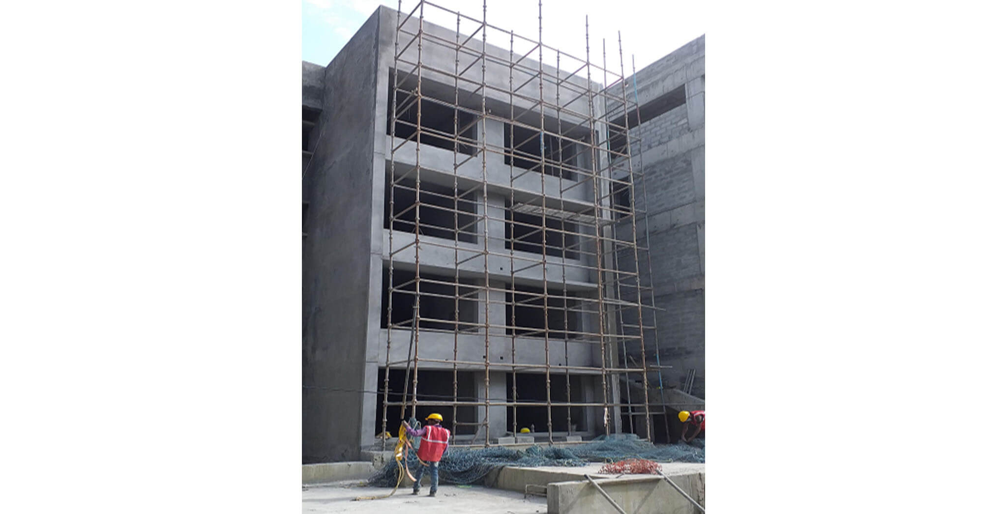 Oct 2020 - North side view: N Block—1BHK flats external plastering work completed