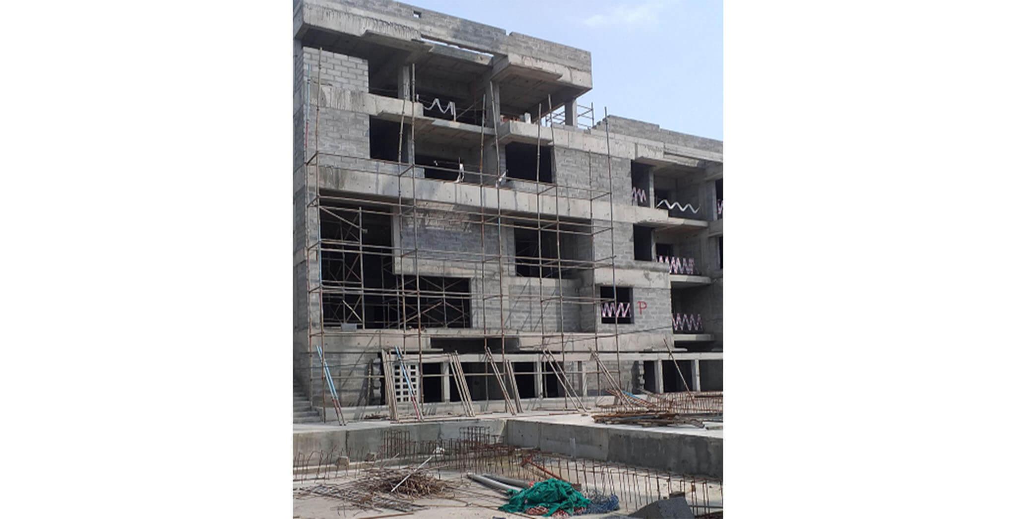 Oct 2020 - North side view: P Block—External plastering staging work-in-progress